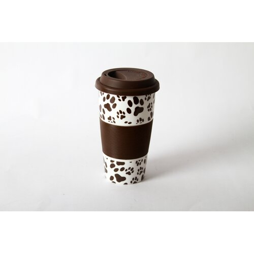 "DEI Lucky Dog ""Paw prints"" Silicone Grip Ceramic Insulated Tumbler"