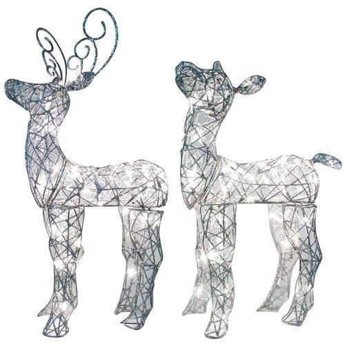 Spun Glitter Miniature Baby Deer Sculpture Christmas Decoration (Set of 2)