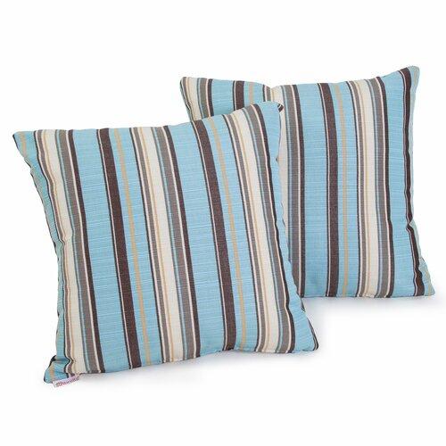 Carnegie Celeste Striped Sunbrella Pillow (Set of 2)