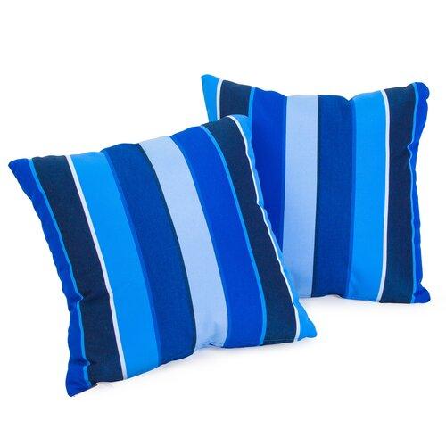Milano Colbalt Blue Striped Sunbrella Pillow (Set of 2)