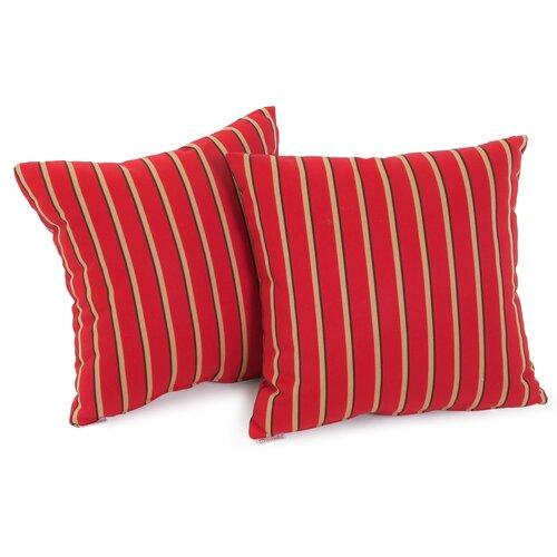 Hardwood Crimson Red Striped Sunbrella Pillow (Set of 2)