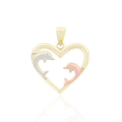 Dolphins on Heart Charm