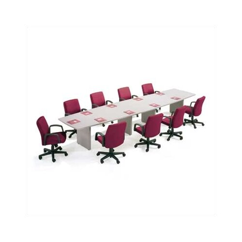 ABCO T-Mold Edge Boat Shaped Conference Table with Slab Base