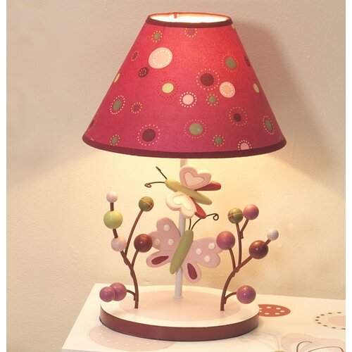 Lambs & Ivy Raspberry Swirl Lamp with Shade