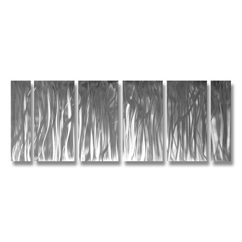 Abstract Sculptures Silver Forest of Illusions 6 Piece Original Painting Plaque Set
