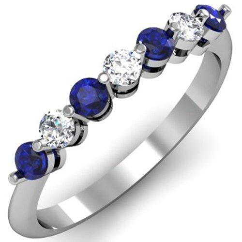 14K White Gold Round Cut Gemstone Anniversary Wedding Band
