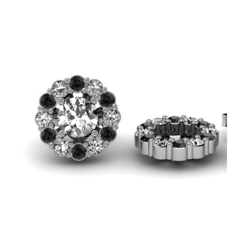 Flower Round Cut Diamond Cluster Jackets for Stud Earrings