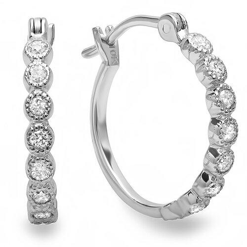 Fine Dainty Round Cut Baguette Diamond Hoop Earrings