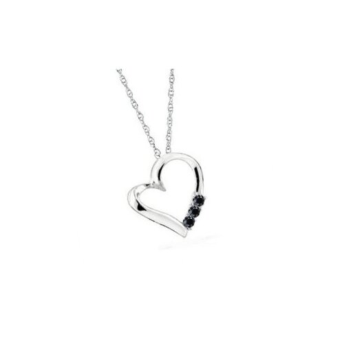 Dazzling Rock 10K White Gold Heart Diamond Pendant