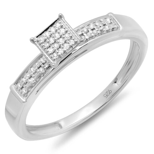 Sterling Silver Round Cut Diamond Promise Ring