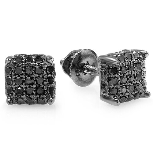 Men's Hip Hop Dice Round Cut Diamond Stud Earrings