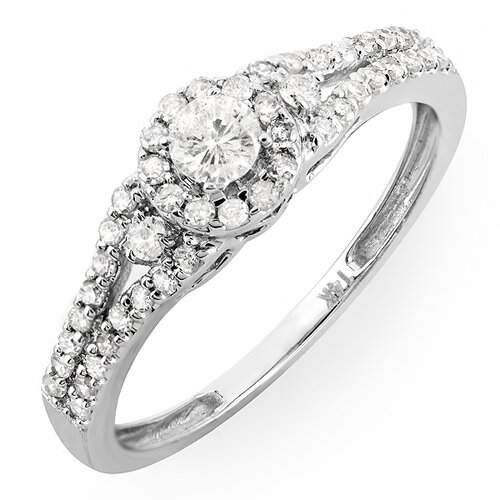 14K White Gold Round Cut Diamond Ring