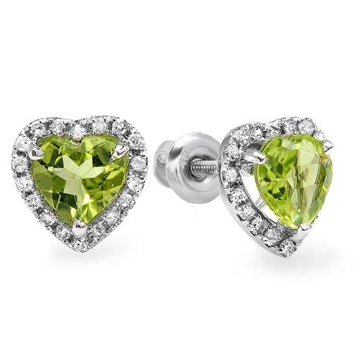 Heart Cut Peridot Halo Stud Earrings