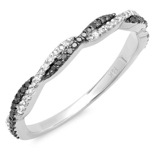 14K White Gold Round Cut Diamond Swirl Anniversary Wedding Band