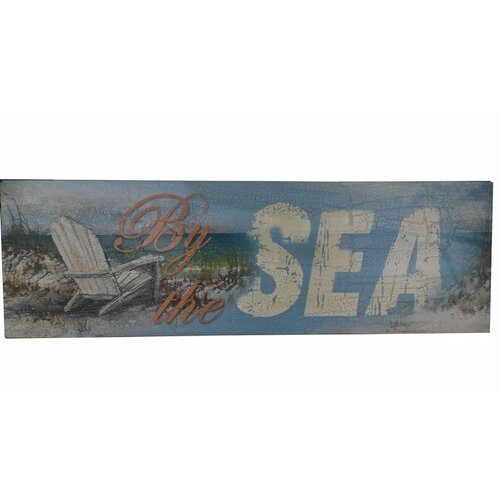 Beach Ocean Wall Decor : Wooden rustic by the sea beach sign wall decor wayfair
