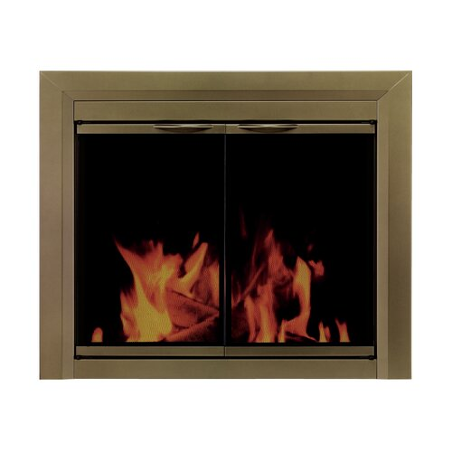 Pleasant Hearth Cahill Cabinet Style Fireplace Screen and Smoked Glass Door