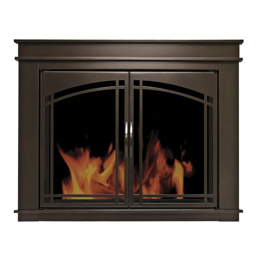 Pleasant Hearth Fenwick Cabinet Style Fireplace Screen Arch Prairie Smoked Glass Door