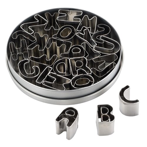 26 Piece Stainless Steel Alphabet Fondant and Cookie Cutter Set