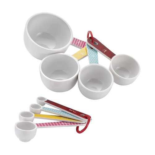 Cake Boss Countertop Accessories 8 Piece Melamine Measuring Cups and Spoon Set
