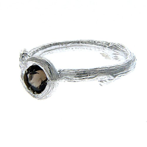 Gresha Sadie Sterling Silver Round Cut Gemstone Ring
