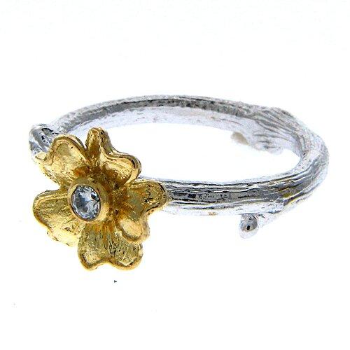 Gresha Astrid Sadie Sterling Silver Round Cut Gemstone Ring