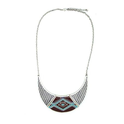 Jordan and Taylor Silver Aztec Bib Necklace