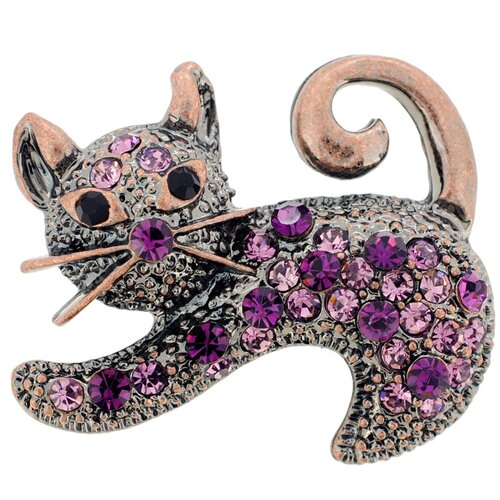 Cat Animal Crystal Brooch
