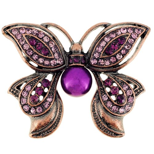 Butterfly Cultured Pearl Crystal Brooch