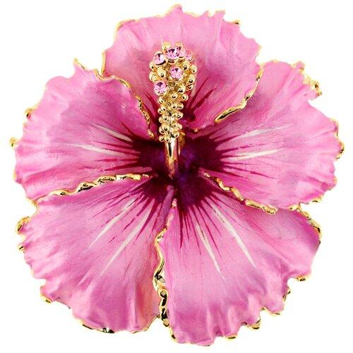 Hawaiian Hibiscus Flower Crystal Brooch Pendant