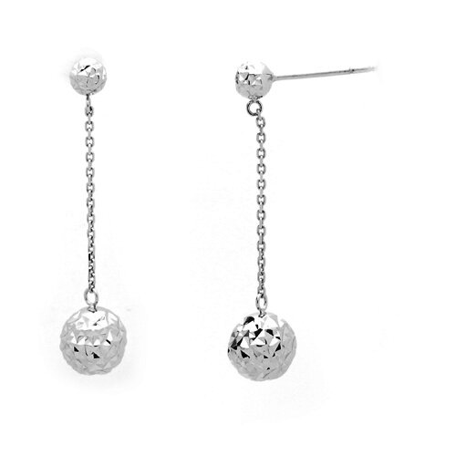 14K Italian Cubic Zirconia Drop Earrings