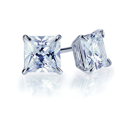 14K Princess Cut Basket Cubic Zirconia Stud Earrings