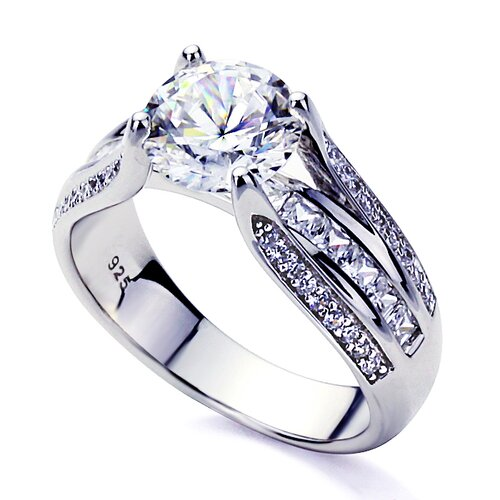 Sterling Silver Diamond Wedding and Engagement Ring