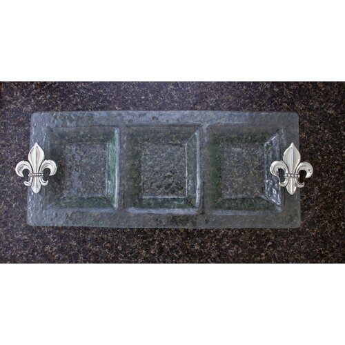 Thirstystone Fleur de Lis 3-Section Glass Rectangular Serving Tray