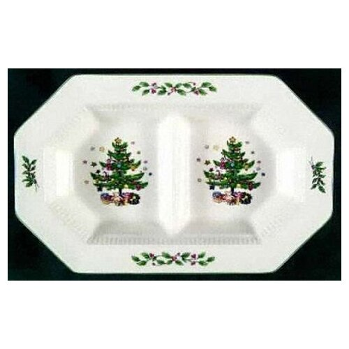 "Nikko Ceramics Christmastime 11.5"" Divided Serving Dish"