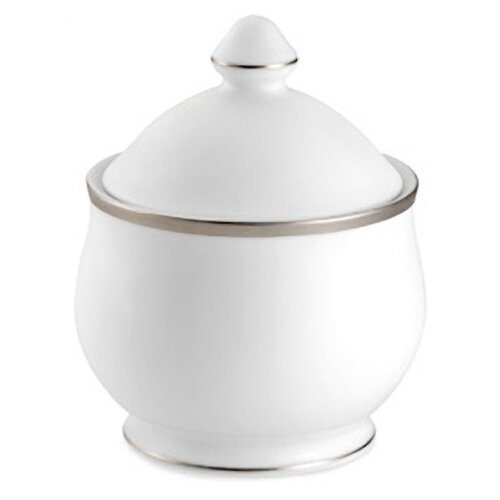 Nikko Ceramics Sentiments Band of Platinum Sugar Bowl with Lid