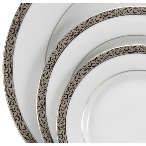 "Nikko Ceramics Sentiments Platinum Filigree 10.5"" Dinner Plate"