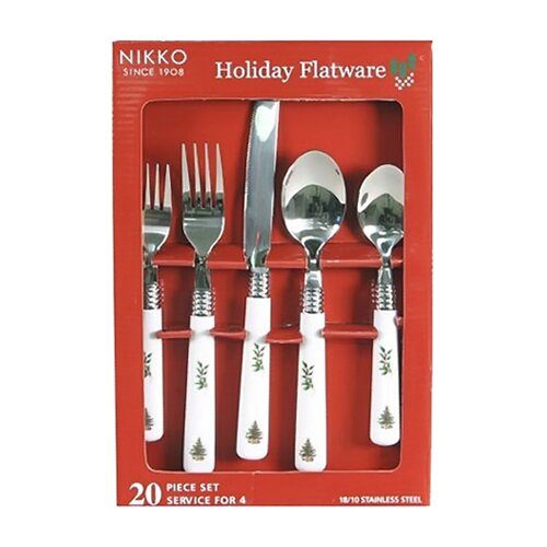 Nikko Ceramics Xmas Flatware 20 Piece Holiday Set