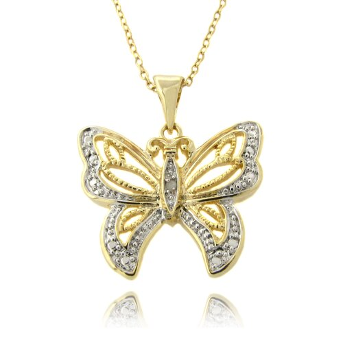 Gold Overlay and Diamond Accent Filigree Butterfly Necklace