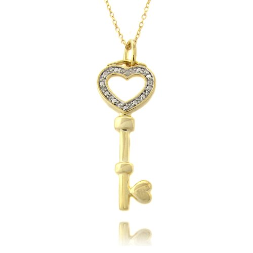 Gold Overlay and Diamond Accent Heart Key Necklace