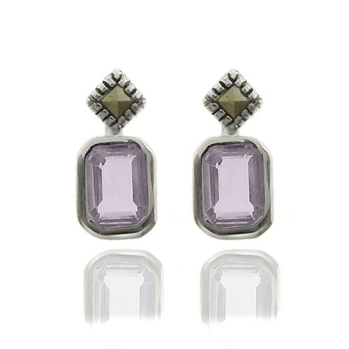 Silver Overlay Gemstone and Marcasite SquareStud Earrings