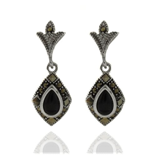 Silver Overlay Marcasite and Black Onyx Teardrop Dangle Earrings