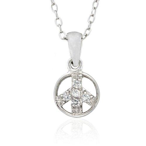 Gem Jolie Sterling Silver Cubic Zirconia 'PeaceSign' Necklace