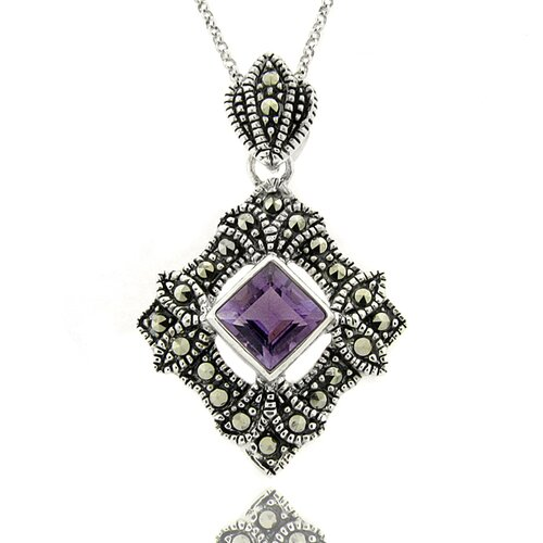 Silver Overlay Amethyst and Marcasite Geometric Pendant Necklace