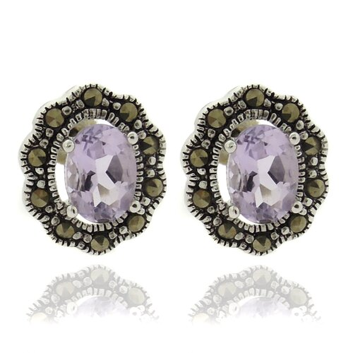 Silver Overlay Marcasite and Oval GemstoneStud Earrings
