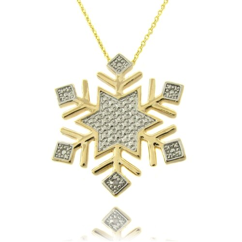 Gold Overlay Diamond Accent Snowflake Necklace