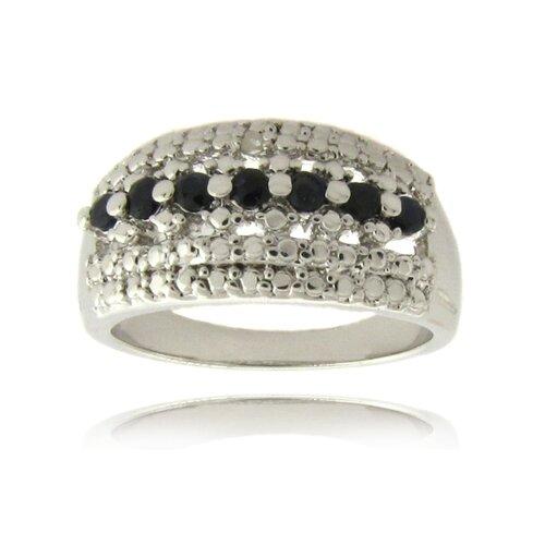 Silver Overlay Diamond Accent Sapphire Stripe Ring