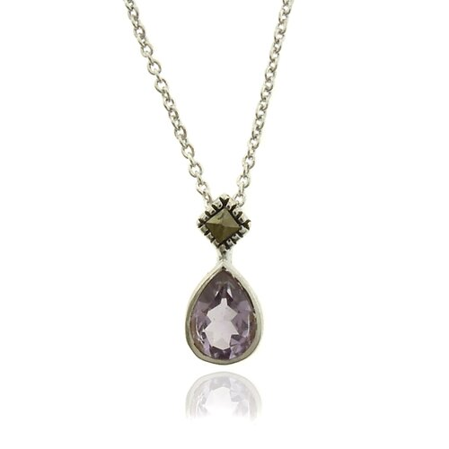 Silver Overlay Marcasite and Gemstone Teardrop Pendant Necklace