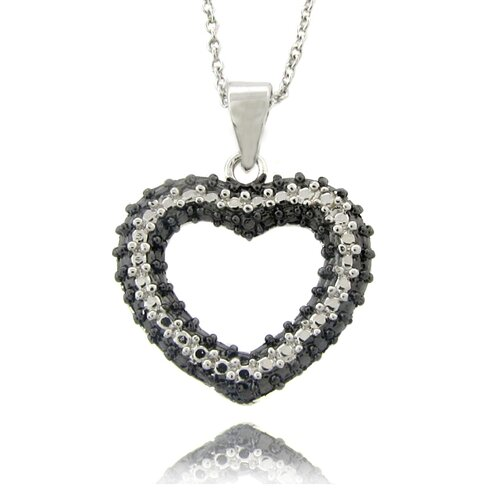 Gem Jolie Silver Overlay Diamond Accent Black and White Heart Necklace