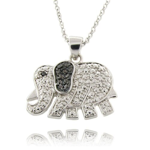 Gem Jolie Silver Overlay Diamond Accent Black and White Elephant Necklace