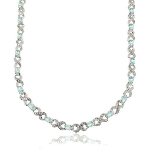 Silver Overlay Blue Topaz and Diamond Accent Link Necklace